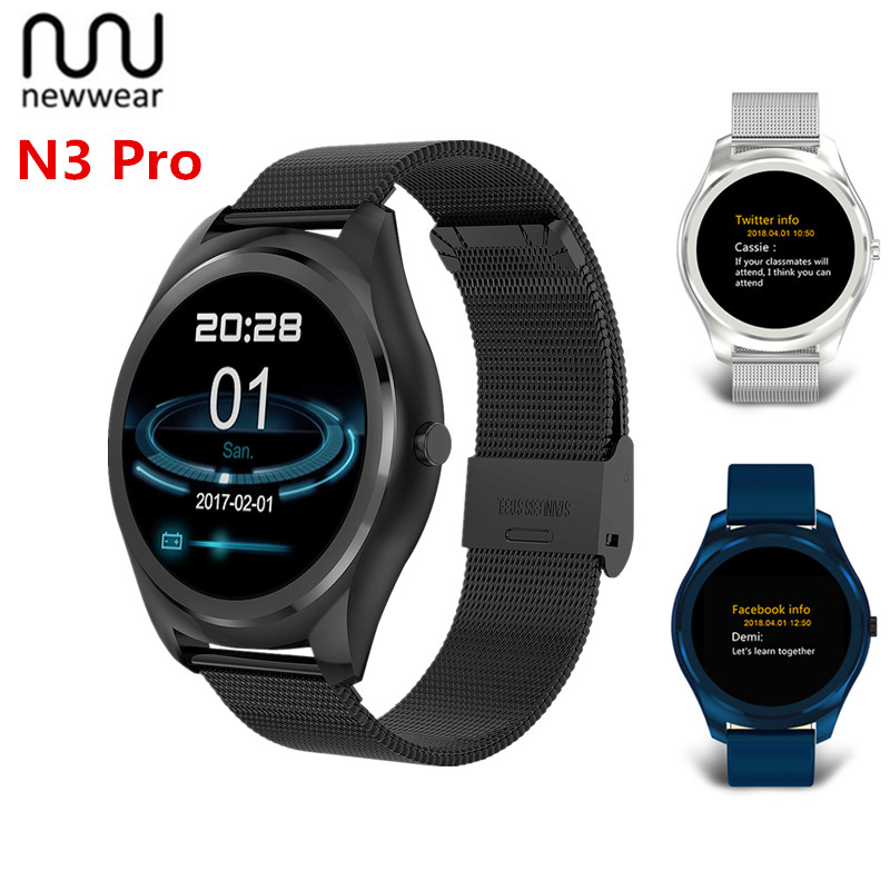 Newwear N3 Pro Smart Watch 1.3 Inch MTK2502 HD Slim Bluetooth Smartwatch Heart Rate Monitor Fitness Tracker For Android IOS sunkinfon sg5 smart watch mtk2502 sport smartwatch heart rate monitor fitness tracker call sms reminder camera for android ios