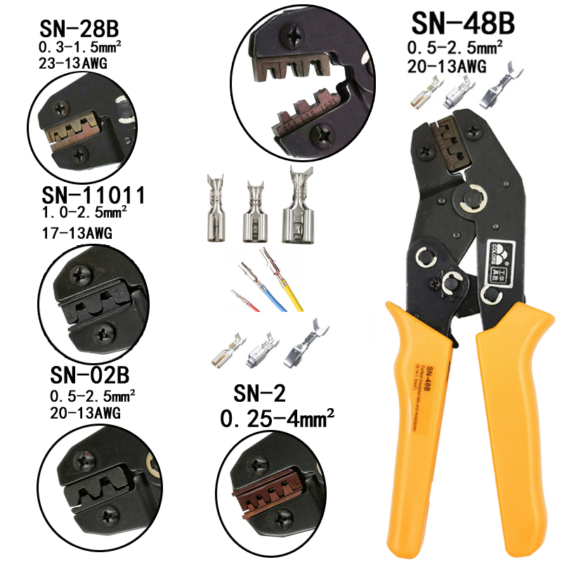 Friso alicate 0.5-1.5mm2 SN-48B 20-15AWG SN-28B/48B/2 Dupont XH2.54 KF2510 SM 2.54 3.96 TAB 2.8/4.8/6.3 Plug tipo de terminal