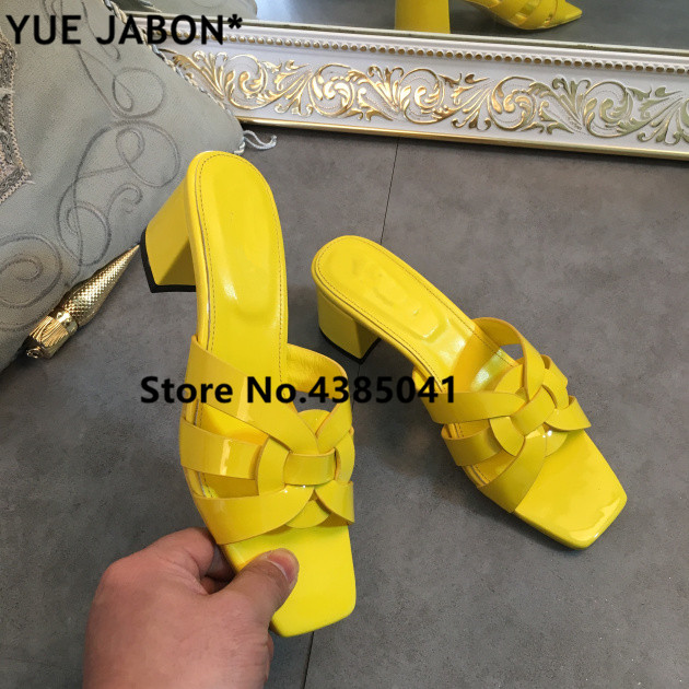 Red Yellow Woman Rome Style Patent Leather Tribute Slippers Shoes High Heels Luxury Designed Lady Slides