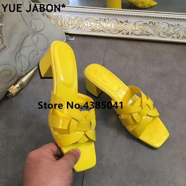 Ayakk.'ten Terlikler'de Kırmızı Sarı Kadın Roma Tarzı Rugan Tribute Terlik yüksek topuklu ayakkabı Lüks Tasarlanmış Bayan Slaytlar Rahat Açık Ayakkabı'da  Grup 1