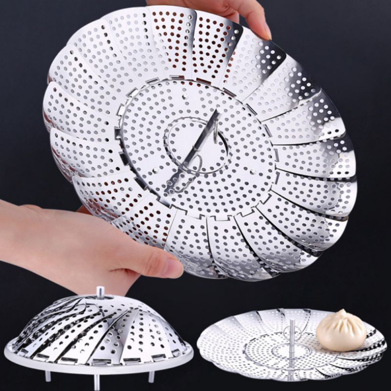 Stainless Steel Multifunctional Steamer Plate Silver Magic Retractable Folding Steaming Fruit Plate Disk