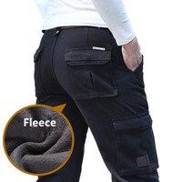 Artı boyutu 44, erkekler Sıcak Sıcak Kış Kargo Pantolon Erkek Rahat Gevşek Çok cep erkek Giyim Askeri Ordu Pantolon Düz pantolon