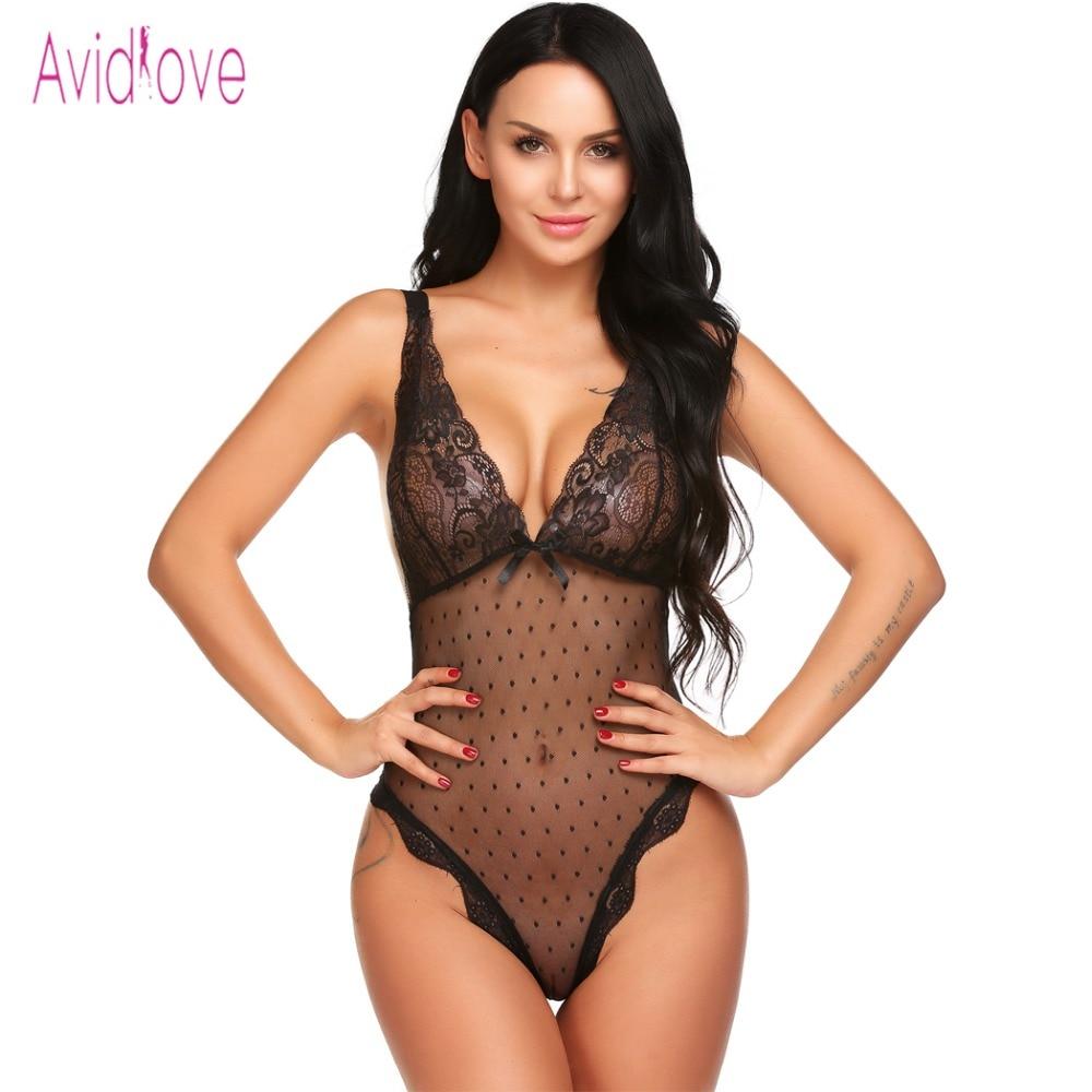 Avidlove Dessous Sexy Erotische Teddys Bodysuit Frauen Spaghettibügel Spitze Unterwäsche Nachtwäsche Sex Kostüm Porno Kleidung
