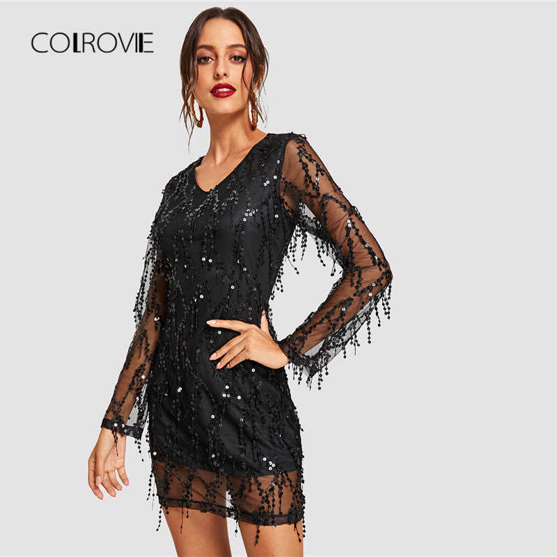 ... COLROVIE Black Sheer Mesh Fringe Overlay Sequin Party Dress Women  Spring V Neck Tassel Bodycon Sexy ... 18c035eebf19