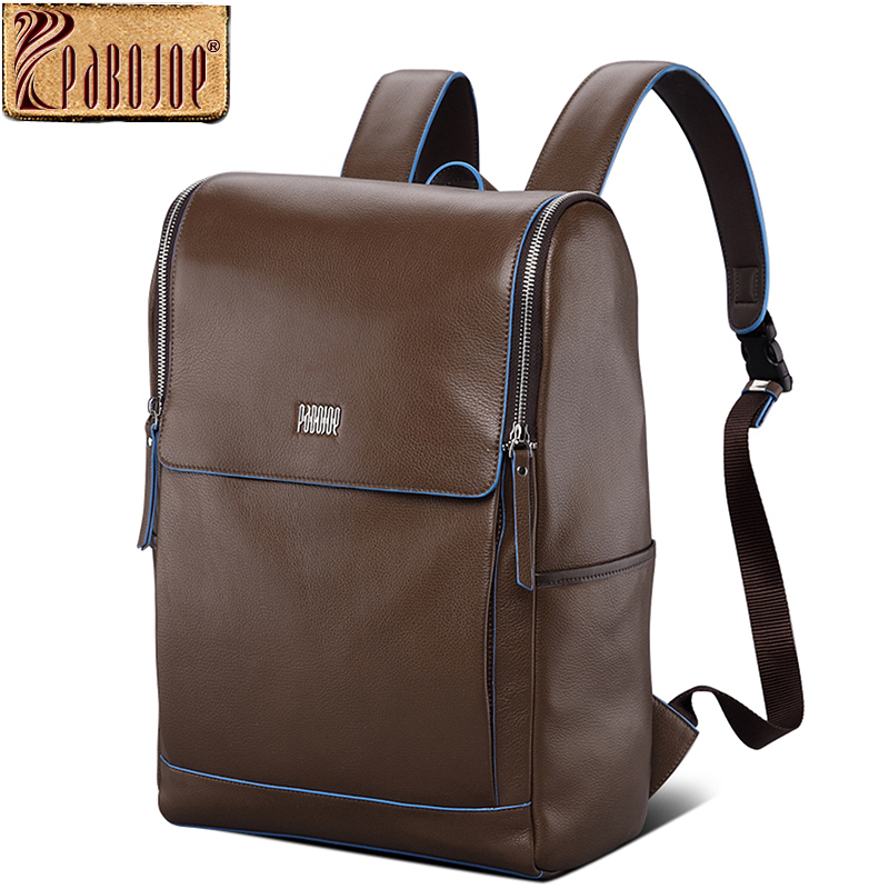 Pabojoe Laptop Backpack 100% Genuine Leather Women Rucksack Weekender Daypack Bag for Men Notebook 15.6 14inch Computer Holder pabojoe women mens school backpack italian 100