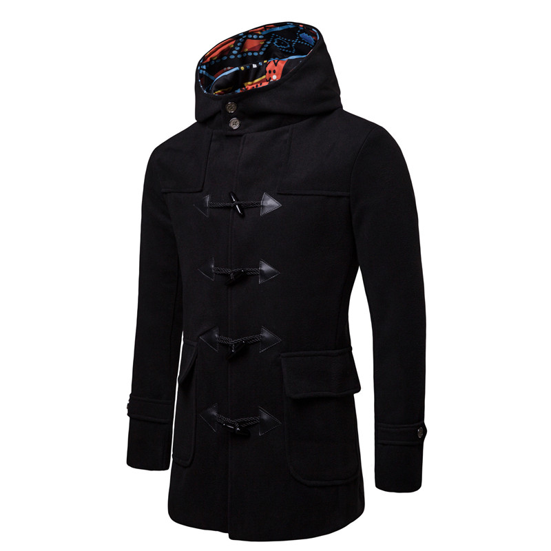 Hommes veste manteaux mode cornes boucle veste Trench contraste couleur Silm Fit noir marine gris pardessus Trench Long Outwear XXXL-in Trench from Vêtements homme    3
