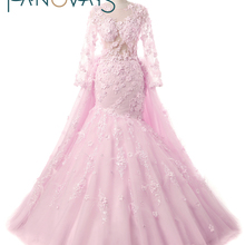Gorgeous Pink Flower Wedding Dresses Detachable train bridal gowns with  flowers and feathers long sleeves wedding 047ecc26bd79