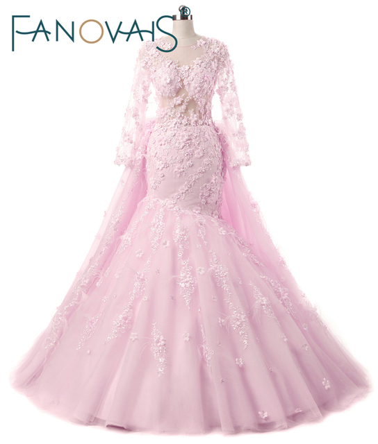 Gorgeous Pink Flower Wedding Dresses Detachable Train Bridal Gowns With Flowers And Feathers Long Sleeves Vestido