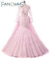 Prachtige Roze Bloem Trouwjurken Afneembare trein bruidsjurken met bloemen en veren lange mouwen bruidsjurken vestido