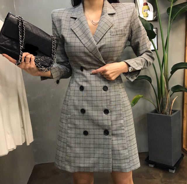 LMCAVASUN 2018 New Euro Fashion Women Plaid Party Blazer Dress Elegant  Dress Suit Casual Long Sleeve 0b489dfb9b0b