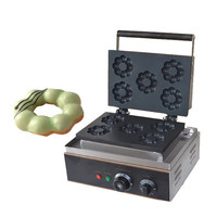 Jamielin Commercial Home Electric Donut Maker 5PCS Plum Blossom Shape Stainless Steel Flower Shape Waffle Making Machine