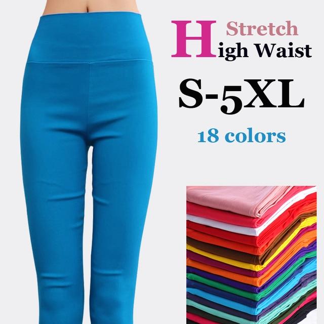 db09e079bc1  Guoran  women high stretch cotton leggings 18 candy color ladies high  waist pencil pants plus size S-6XL female skinny Trousers