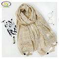 1PC 2017 Spring Korea Style Cotton & Linen Solid Color Women Long Tassels Scarf Soft Thin Woman New Cotton & Linen Big Pashminas
