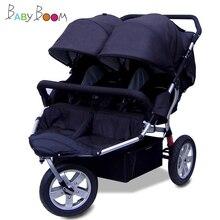 Babyboom внедорожная детская коляска для близнецов, ударные пневматические колеса, двойная детская коляска для близнецов, детская коляска, 3 колеса для близнецов, автомобиль