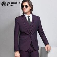 Desirable Time Slim Fit Dark Purple Tuxedo Suits Men Wedding Dress Black And Blue 3 Piece