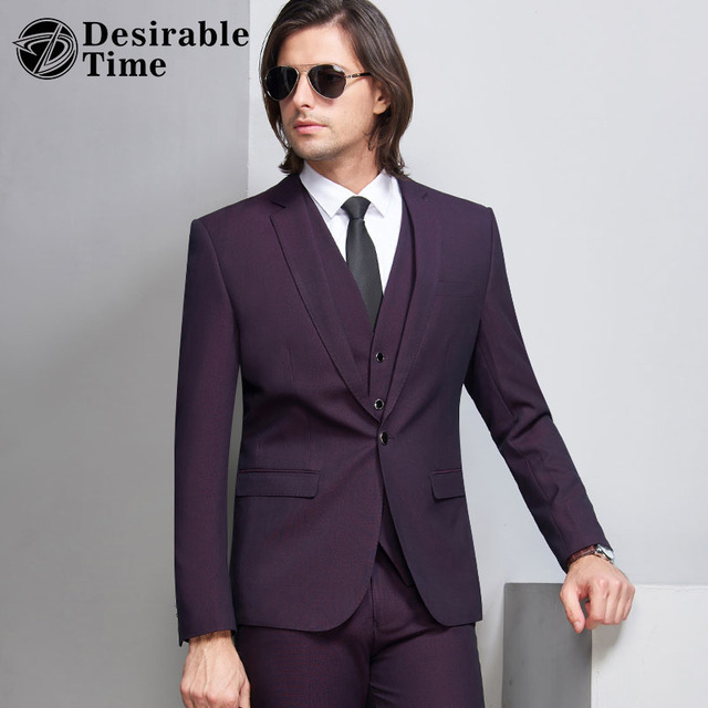 Desirable Time Slim Fit Dark Purple Tuxedo Suits Men Wedding Dress ...