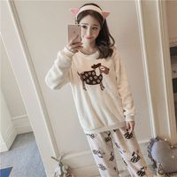 2017JINUO Autumn Winter Women Pajamas Set Sleep Jacket Pant Sleepwear Warm Nightgown Female Cartoon Animal Pants Sleepwear