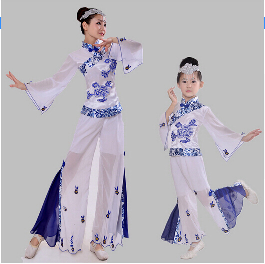 woman Chinese Blue and white porcelain Classical dance costume children national dance performance clothing girls yangko dance