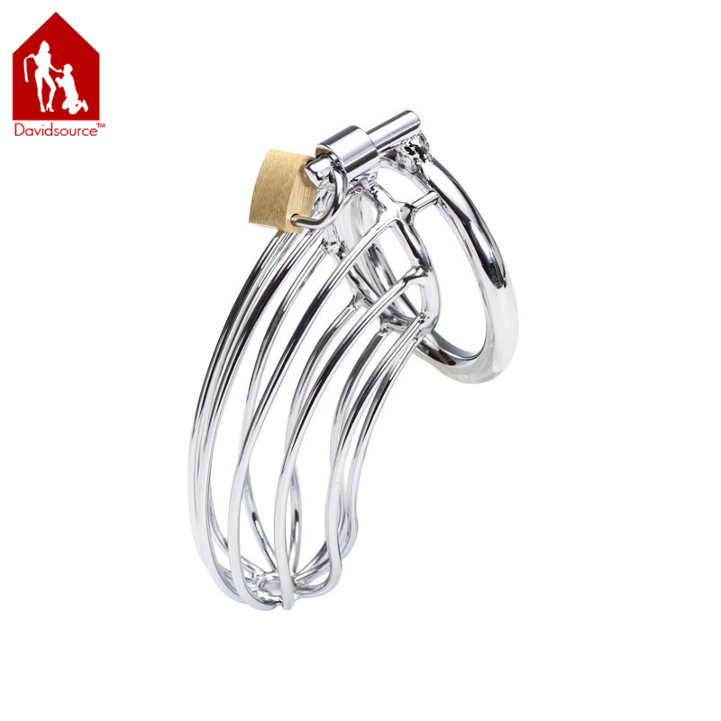 Davidsource 4.8Long 1.4Wide Stainless Metal Chastity Lock Cock Cage Virginity Lock Penis Torture Gear Fetish Men Sex Toy