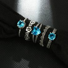 1 Set Ocean Blue Vintage Knuckle Rings for Women Boho Geometric Flower Crystal Ring Set Bohemian Finger Jewelry(China)