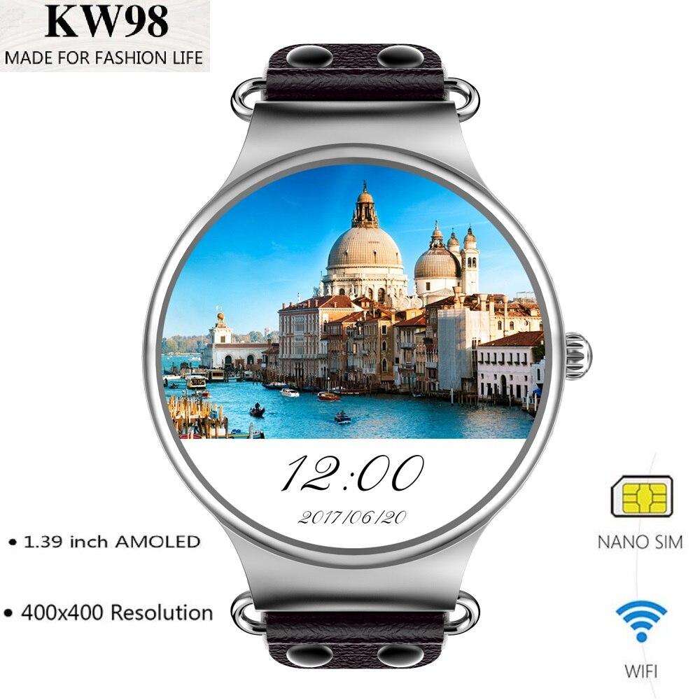 цена на KingWear KW98 3G Smartwatch Phone Android 5.1 1.39 inch MTK6580 Quad Core 1.0GHz 8GB ROM GPS Heart Rate Measurement Pedometer