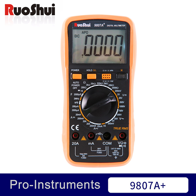 9807A+ Victor RuoShui True RMS Digital Multimeter 20000 Counts Manual Range Voltage Current Resistance Capacitance Conductance