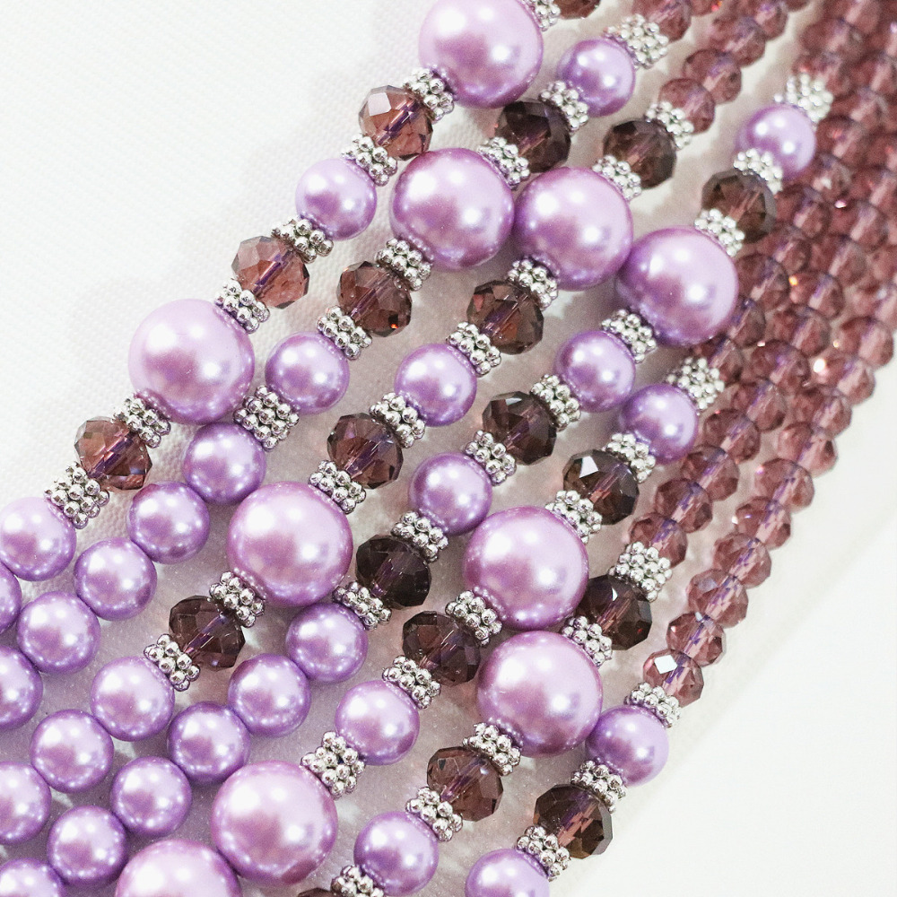 Lovely beauty violet round shell simulated-pearl abacus crystal 7 rows beads necklace earrings set women jewelry B1310