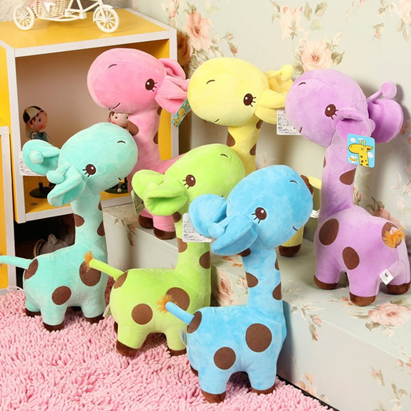 1 pcs Colorful Cute Baby Gift Plush Giraffe Soft font b Toy b font Animal 18cm