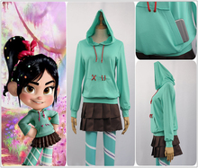 Ralph Breaks the Internet: Wreck-It 2 Vanellope von Schweetz Cosplay Costume Custom Green Hoodies Pantynose Skirt