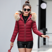 Winter jacket women 2019 new Korean version of the slim down cotton pad short large fur collar winter size coat