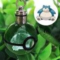 Pokemon snorlax novelty mini portátil ir gravura 3d rodada pingente de bola de vidro de cristal led keychain colorido presente da criança