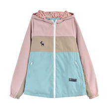 Merry Pretty Autumn New Women Jacket Loose Pocket Zipper Cartoon Print Hooded Two Side Wear Casual Jacket Coat Female Outerwear