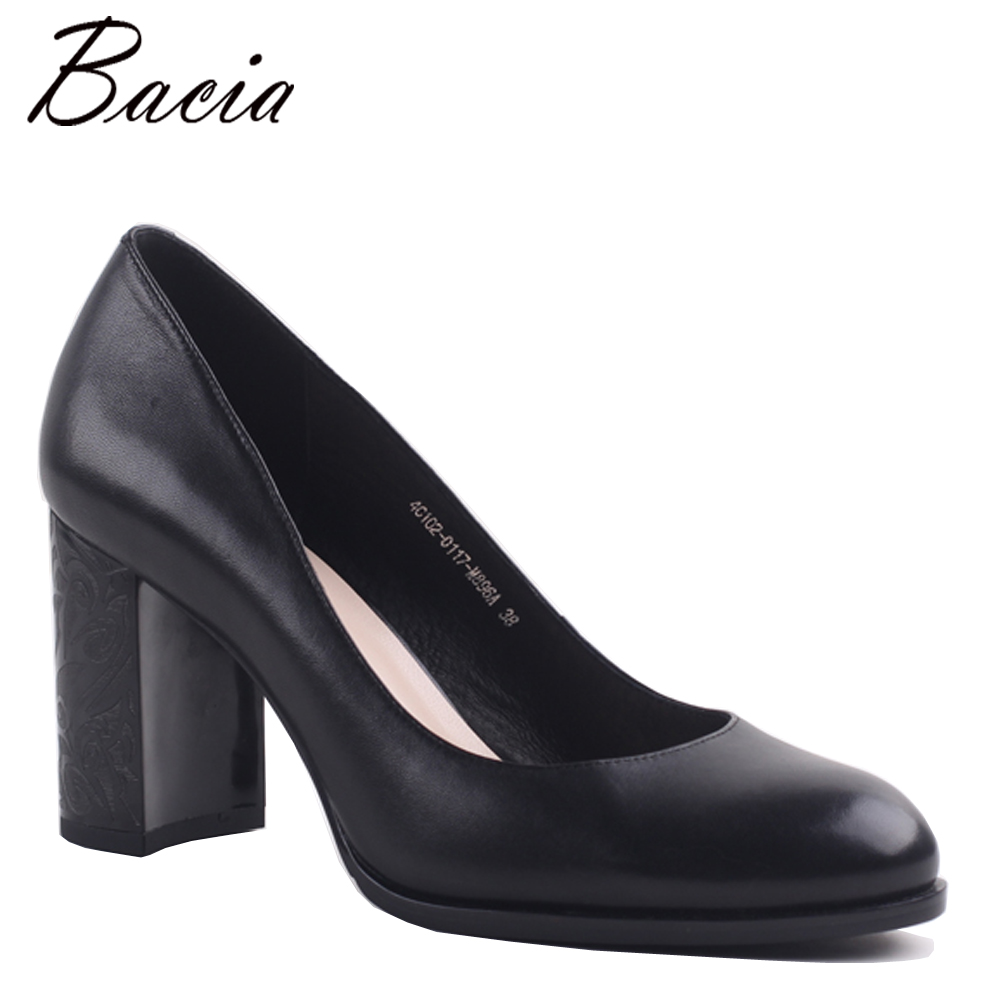 Bacia Women Thick Heel Genuine Leather Shoes Ladies High -7113