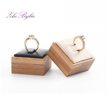Natural Bamboo Ring Holder Stand PU Square Beautiful Woman Wedding Rings Storage Velvet Wood Jewelry Display porte bijoux Z921(China)