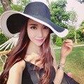 Мода Летние Каникулы Пляж Соломы Cap Sun Hat Широкими Полями Шляпа для Девушки Женщин Черный Белый Цвет