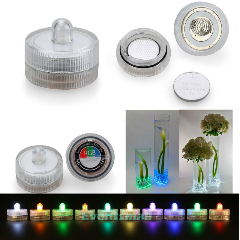 Free Shipping Submersible Floralyte 100pcs/pack  Mulit Color Waterproof Led Candle Light 2pcs CR2032 Button Batteries Operated