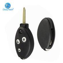 OkeyTech-funda para llave de coche, accesorio con 3 botones, con almohadilla de goma y alarma, para Citroen C3, C4, C5, Saxo, Xsara, Picasso, Berlingo