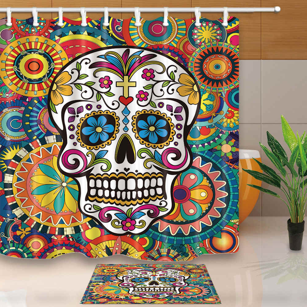 Art Design Shower Curtains Sugar Skull Bathroom Curtains Home Decor High Quality Waterproof Mouldproof  With 12 Plastic Hooks