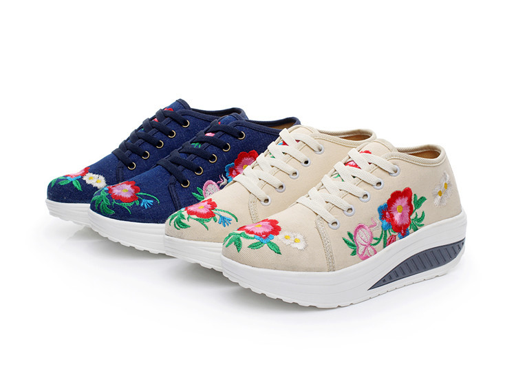 Rouge Toile assorties blanc jaune Femmes Dames Zapatos Lacent De Plates formes Mujer Casual Coton Floral Broderie Marche Chaussures Clair Confort Mode Plates q1HXUTxw