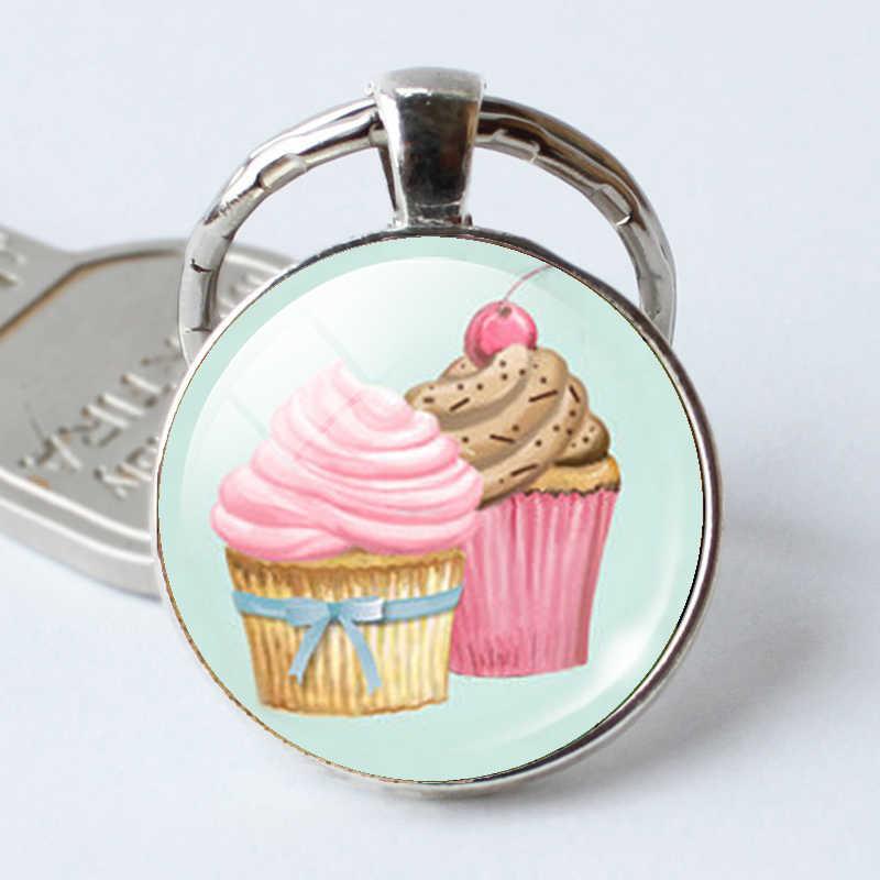 Cupcake Schlüsselanhänger Cupcake Schlüsselanhänger Anhänger Cupcake Glas Cabochon Anhänger Schmuck Weihnachten Geschenk Geschenk für Mädchen