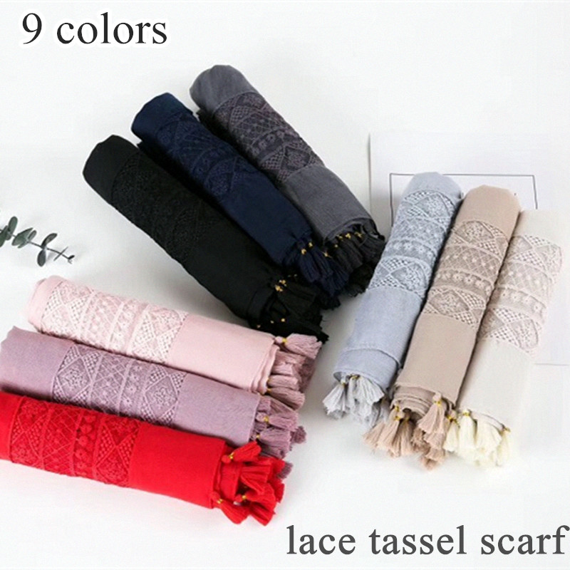 New Women Lace Hijab Tassel Design Plain Maxi Shawl Fashion Scarf 9 Colors Women Plain Scarf Tassel Solid Islamic Hijab Scarfs