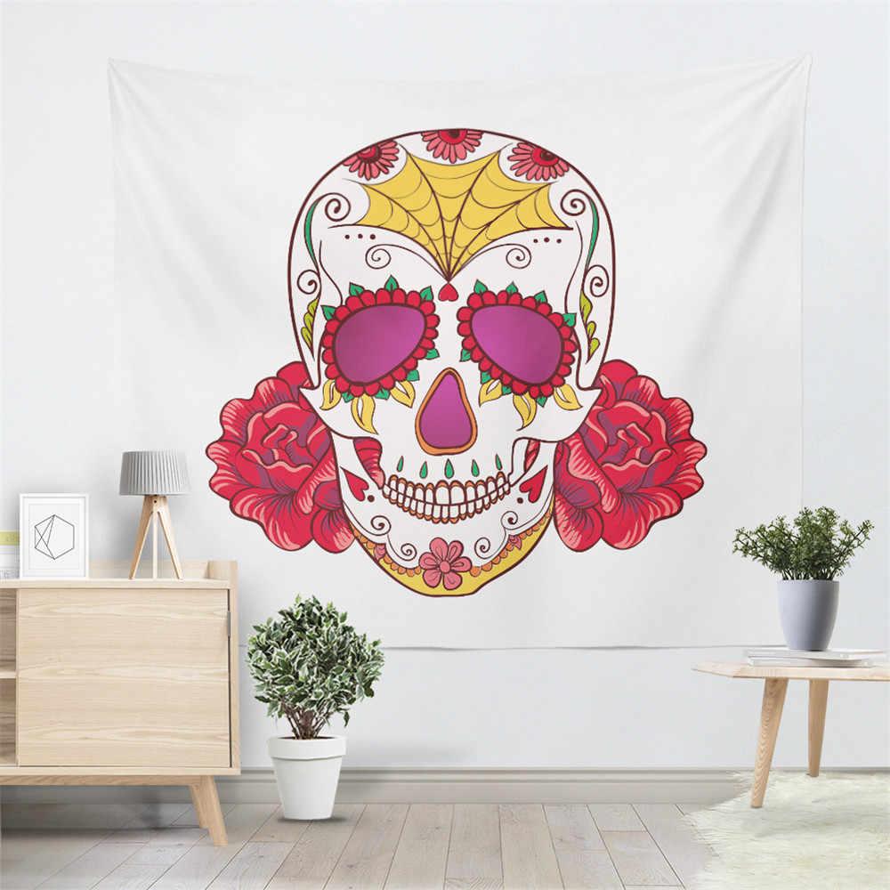 自由奔放に生きるシュガースカルタペストリーカラフルな花ハンギング印刷ソフトヨガ敷物マットキャンプ毛布布家の装飾のカーペット D49