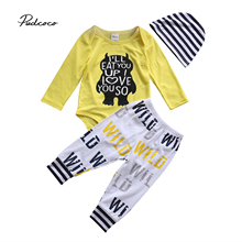 2019 Lovely Unisex Newborn Infant Baby Boy Baby Girl Words Printed Bodysuit Pants Leggings Hat 3Pcs Outfit Set Clothes baby touch words