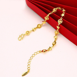 MxGxFam 20 cm Charming Moon and Star Bracelet For Women Fashion Jewelry 24 k Pure Gold Color Allergy Free