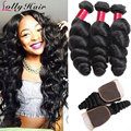 8A Peruvian Loose Wave With Closure 3 Hair Bundles With Lace Closures Peruvian Virgin Hair With Closure Human Hair With Closure