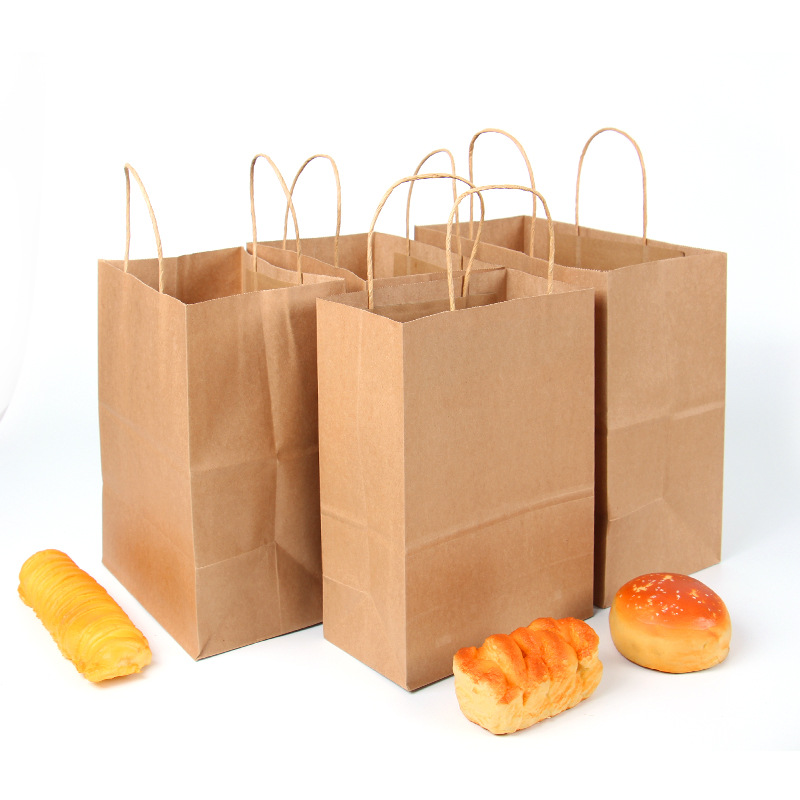 Favor-Bag-Set Kraft-Bag Handles Gift Brown Birthday-Party Retail with for FANLUS title=