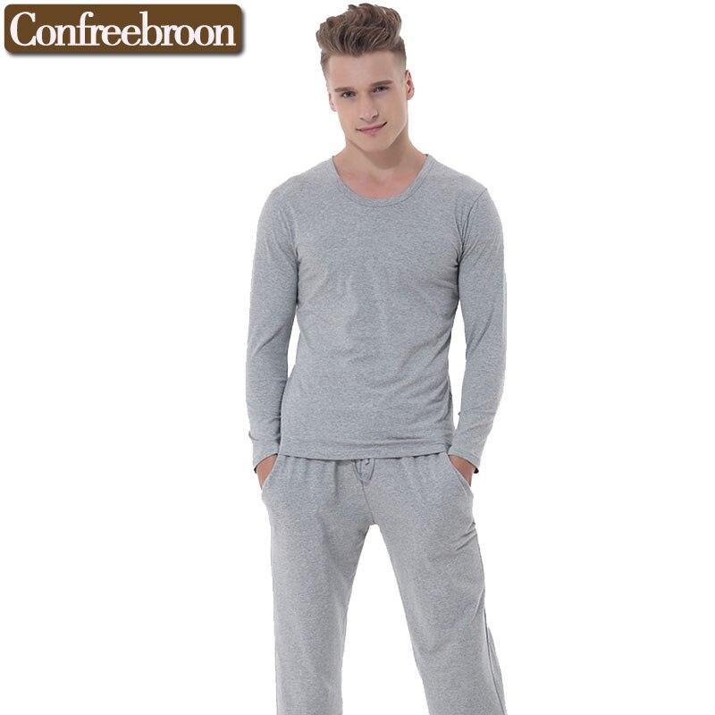 Men s Pajamas Elastic Thin Cotton Sleepwear casual Homewear Homme Pyjamas Sets Nightwear Autumn Winter Long