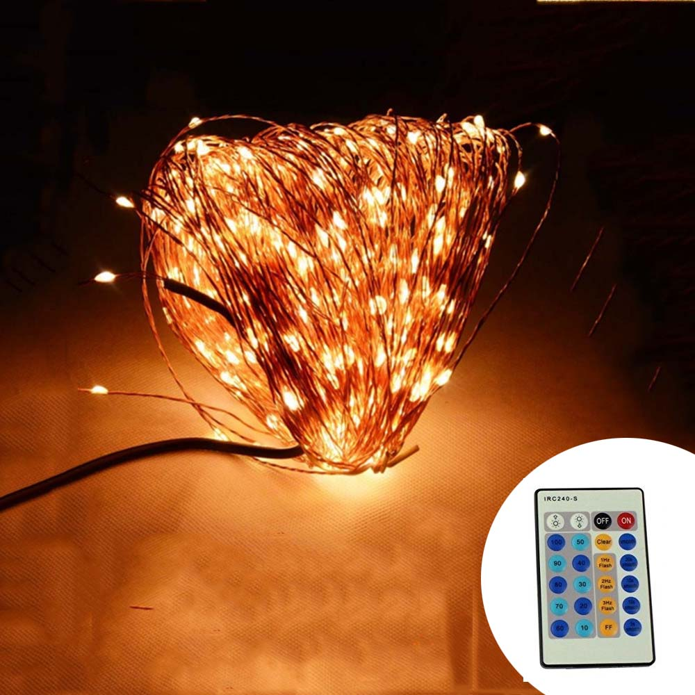 IR Remote Control 50M 165Ft 500 LED Copper Wire Warm White White - Holiday Lighting
