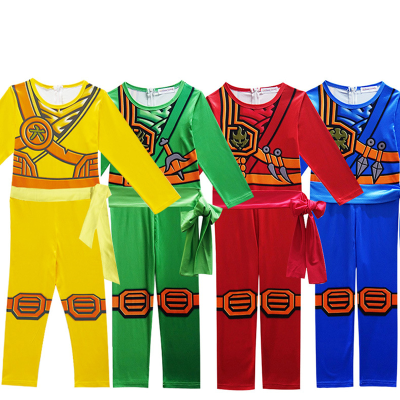 Ninjago Cosplay Costume Boys Clothes Sets Children Halloween Fancy Party Dress Up Ninja Cosplay Superhero Suits Boy Jumpsuits