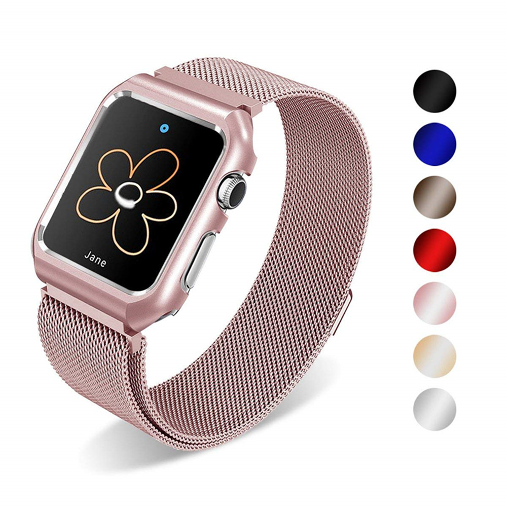Case+stainless steel band for apple watch 44mm 40mm iwatch 4/3/2/1 42mm 38mm milanese loop link strap bracelet wrist watchband milanese loop strap stainless steel bracelet for apple watch series 4 40mm 44mm band wrist link belt for iwatch 1 2 3 42mm 38mm
